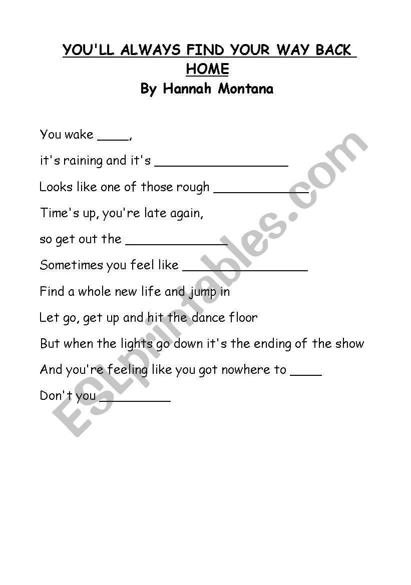 Hanna Montana song worksheet