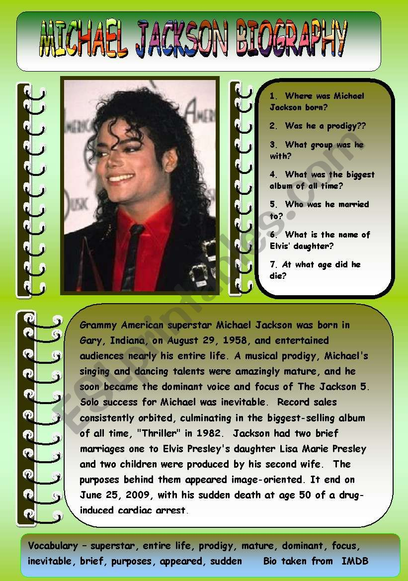 MICHAEL JACKSON BIOGRAPHY worksheet