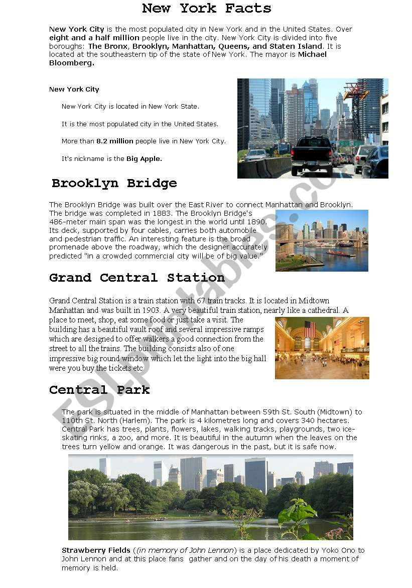 New York Facts worksheet