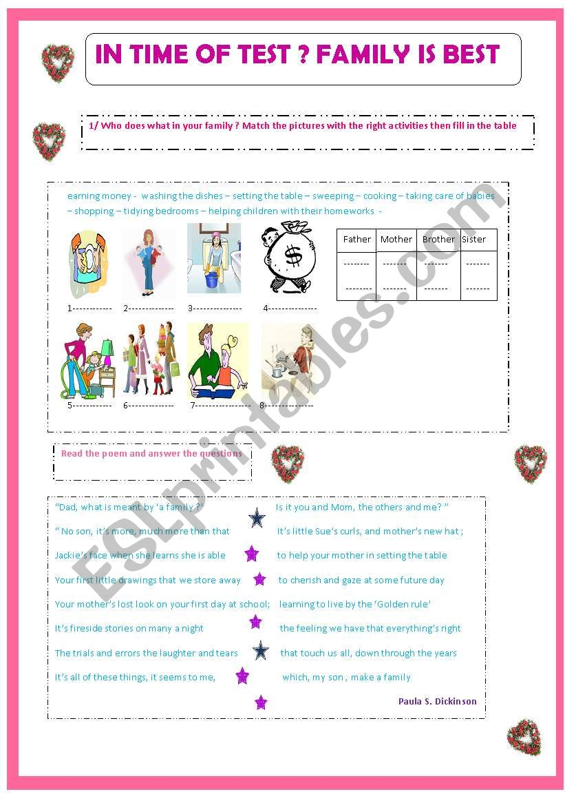 Family Roles Esl Worksheet By Paul Nagui