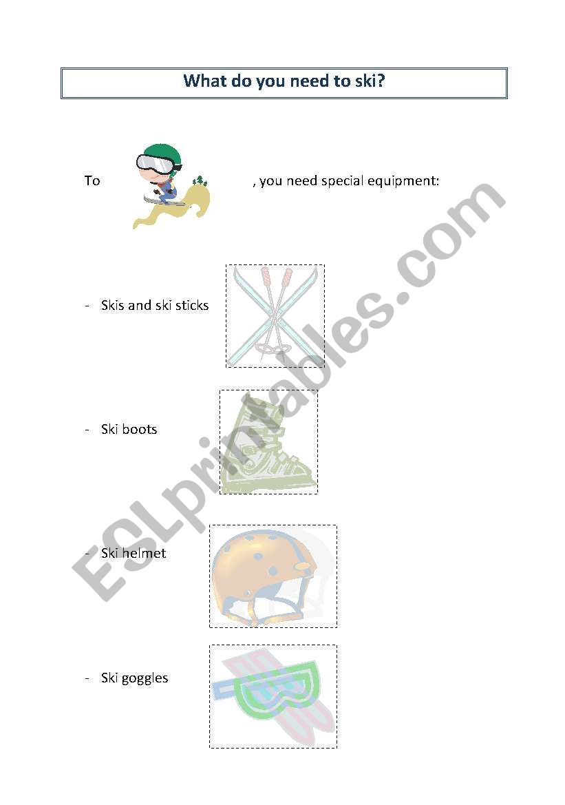 What do you need to ski? worksheet