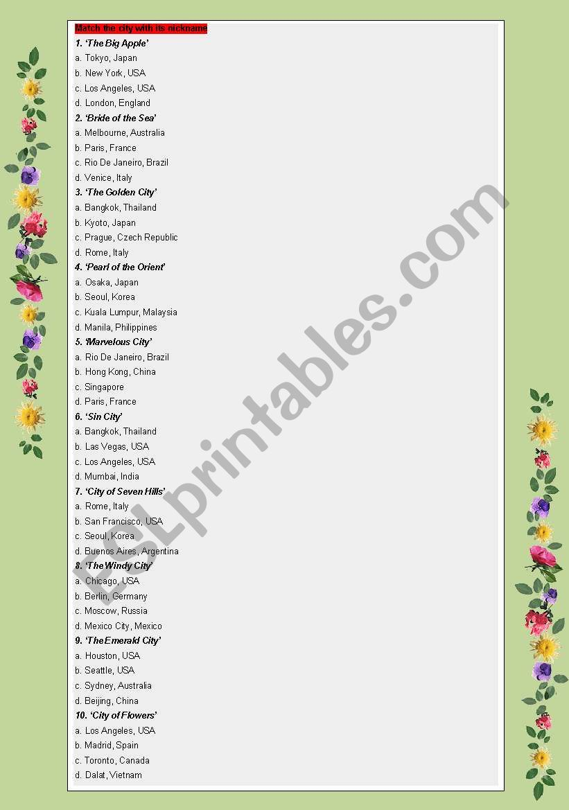CITY NICKNAME - ESL worksheet by thachlam85