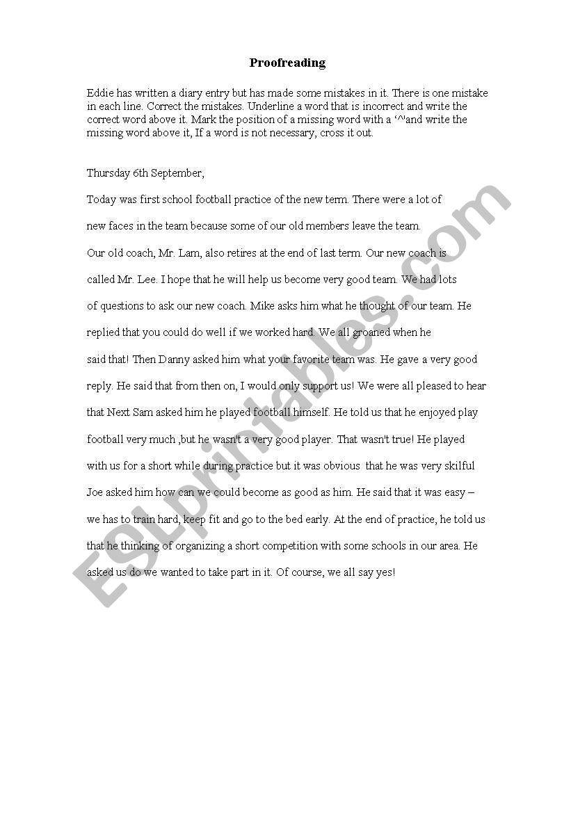 proofreading  worksheet
