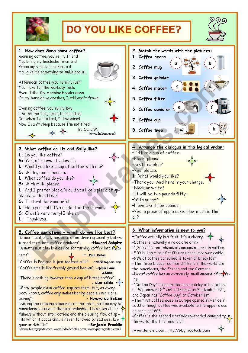 Do You Like Coffee? worksheet