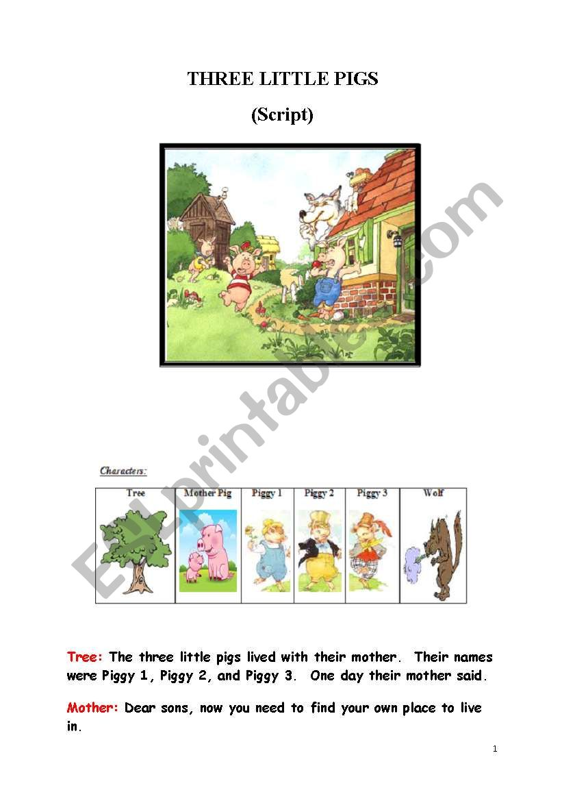 Three little pigs  worksheet