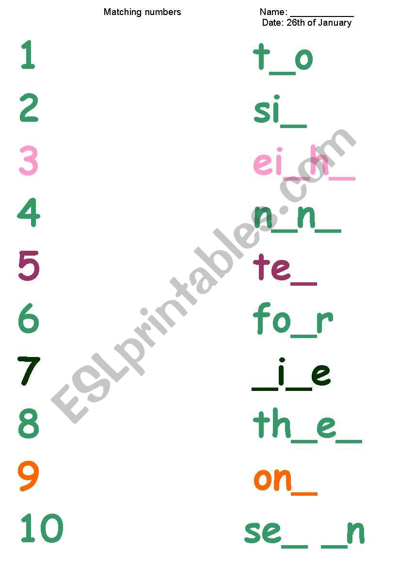 numbers 1 - 10 writing - ESL worksheet by Beucici17