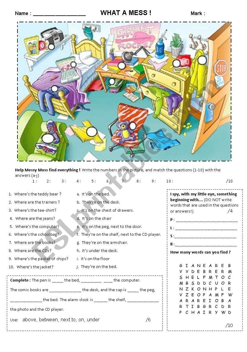 What a mess! worksheet