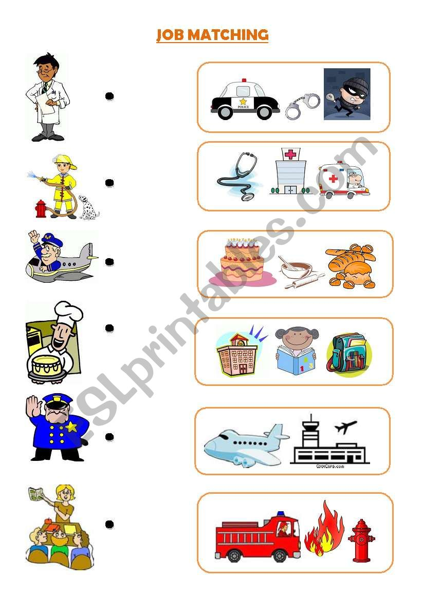 English worksheets: Job Matching