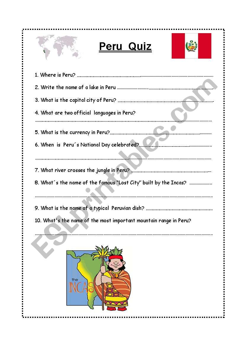 Peru Quiz worksheet