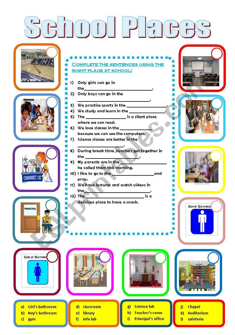 School Places on math 4 kids worksheets