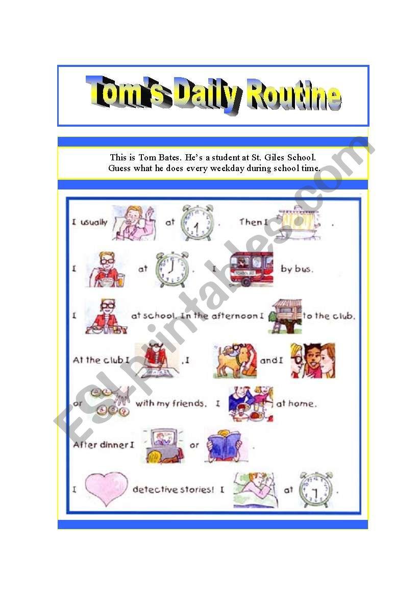 Tom´s Routine worksheet