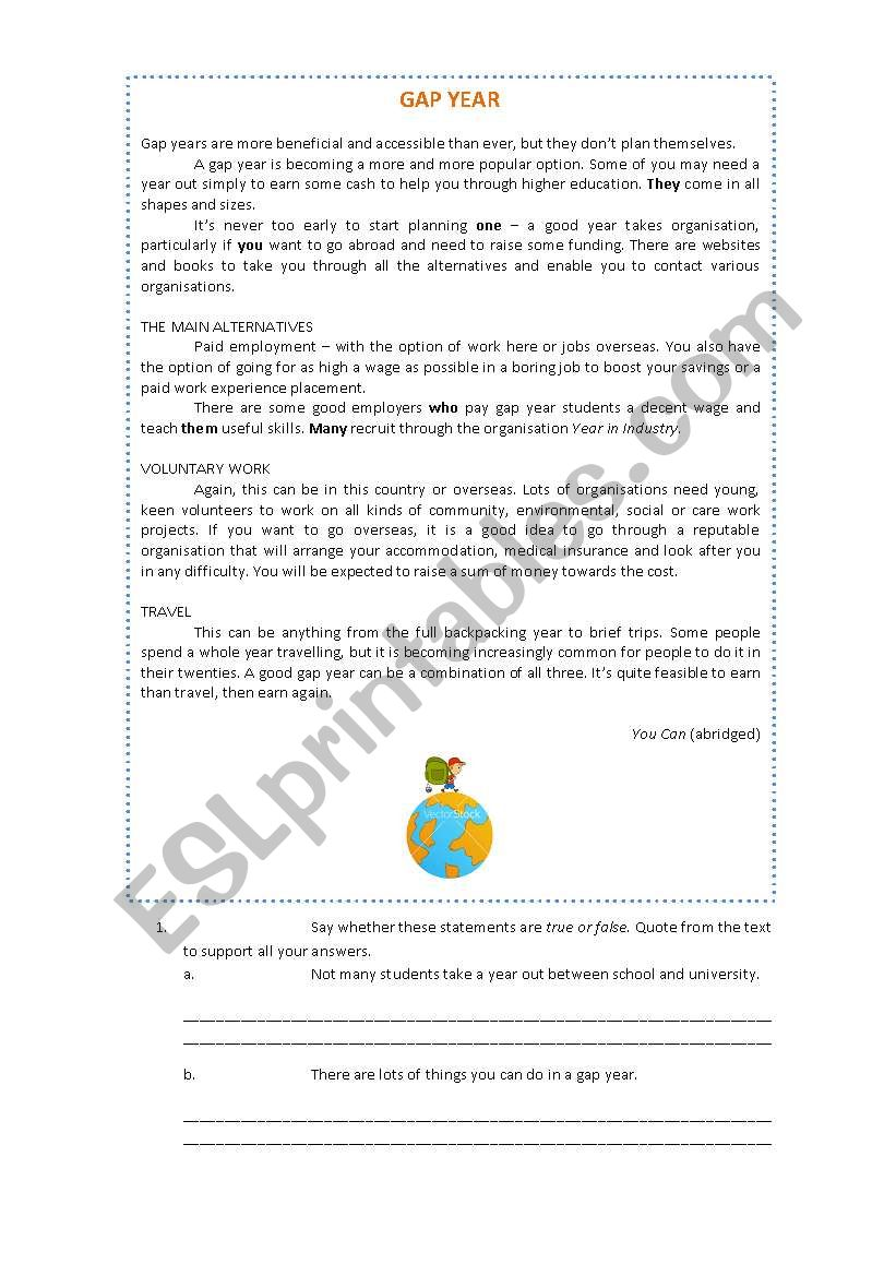 Gap Year 11th form worksheet