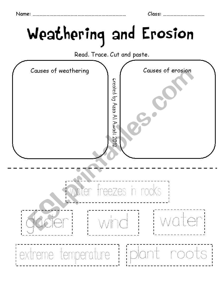 worksheet Weathering And Erosion Worksheets english worksheets weathering and erosion worksheet