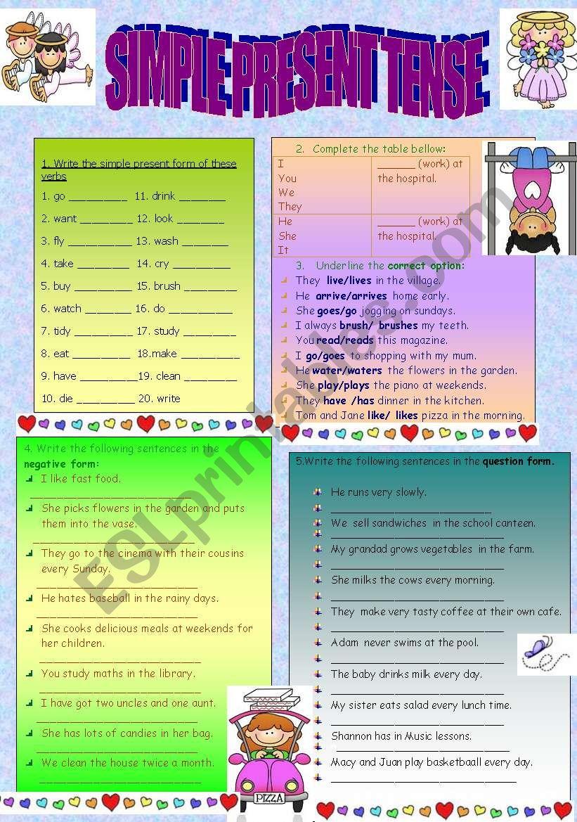 present simple tense review worksheet