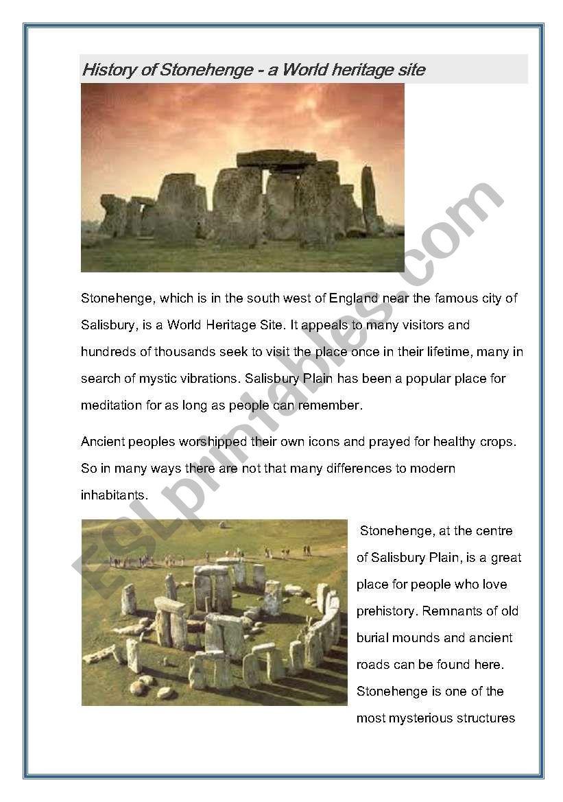 History of Stonehenge  worksheet