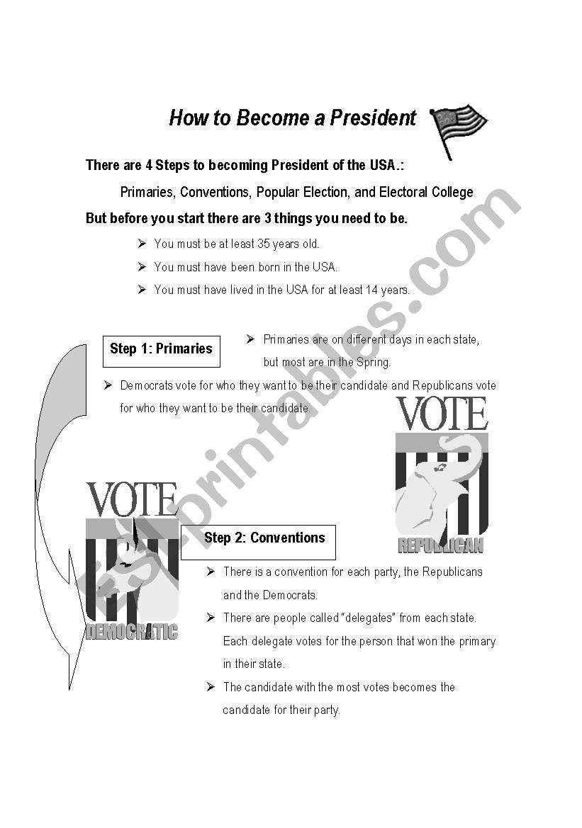 How to Become a President - ESL worksheet by lumagoo18