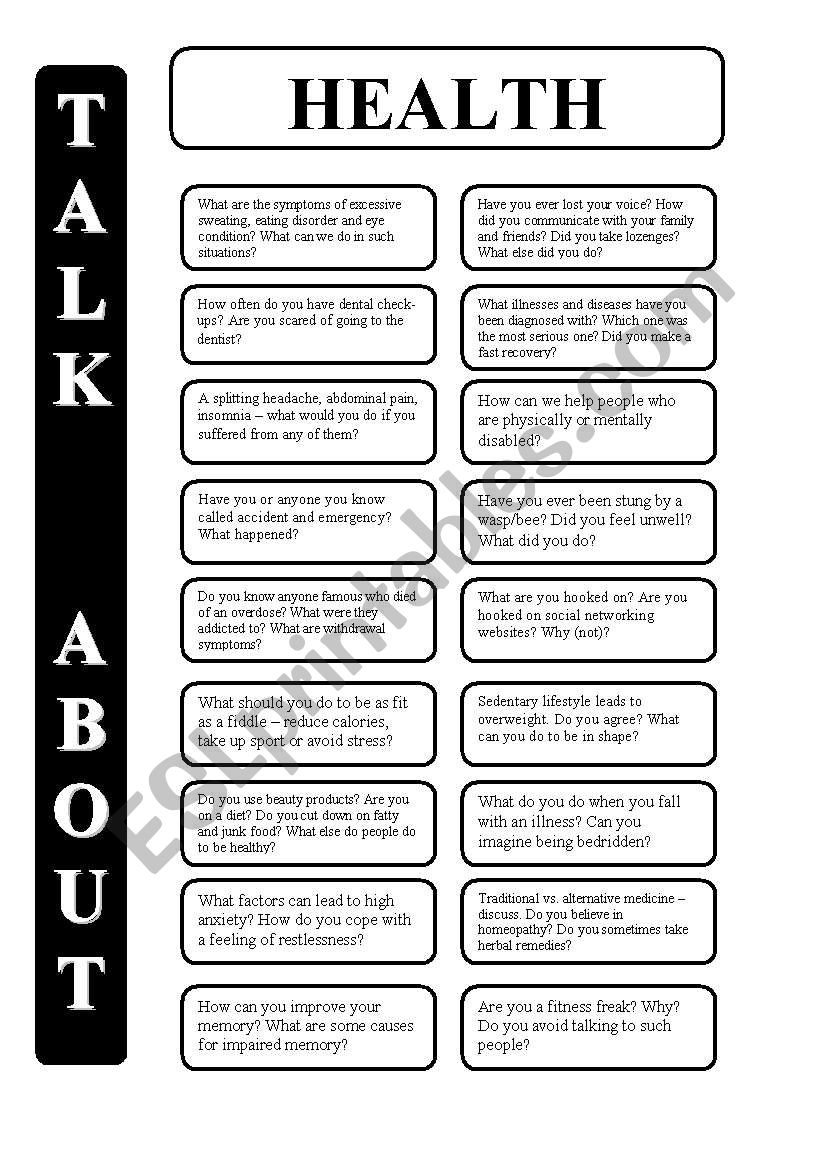 Health - 18 conversation cards - upper-intermediate level (editable)