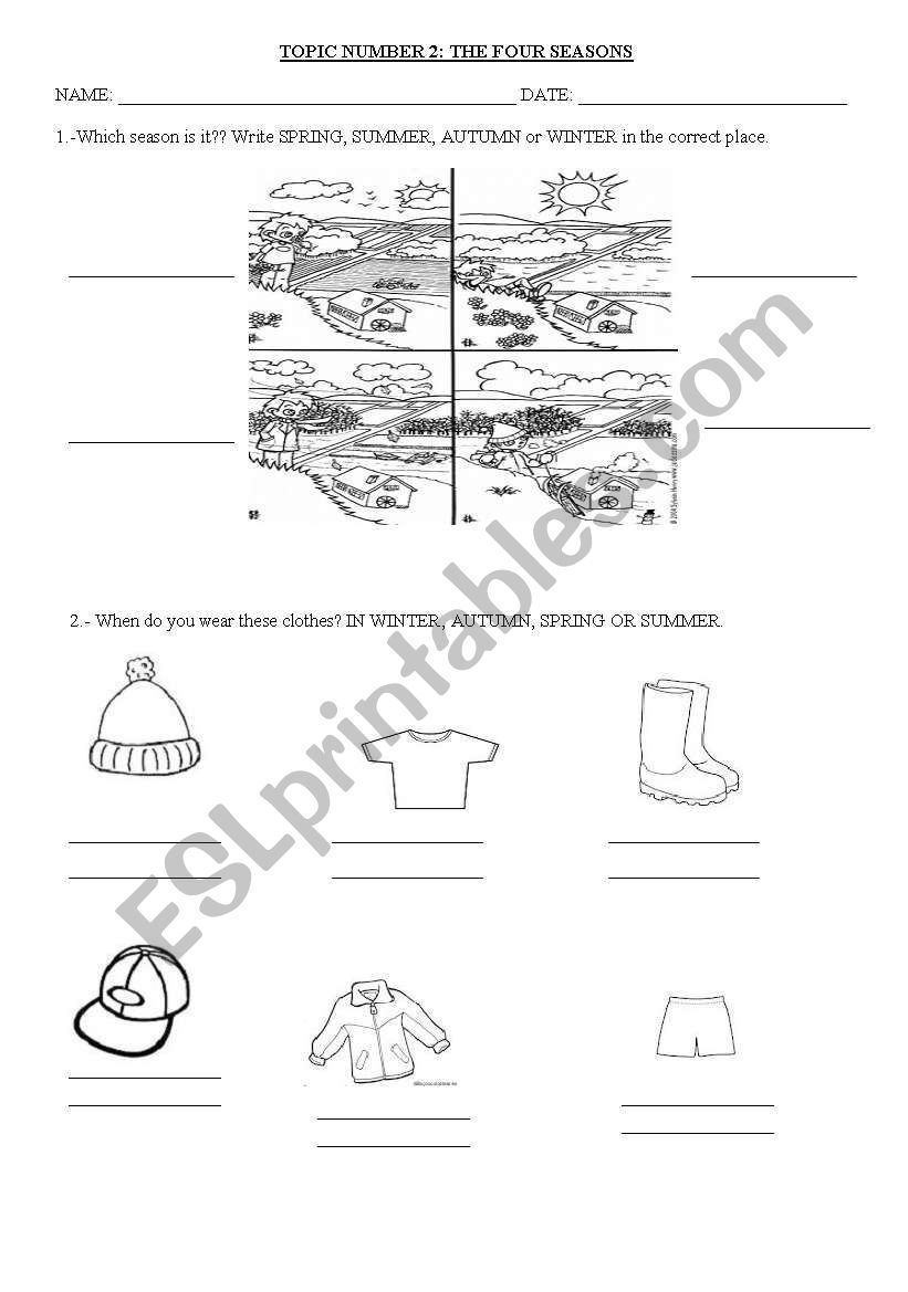 The Four Seasons Weather And Clothes Esl Worksheet By Vannenrnf