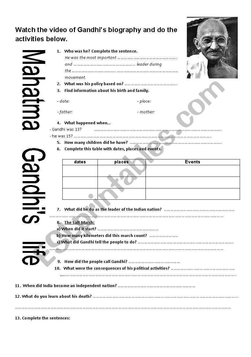 worksheet Gandhi Worksheet english worksheets mahatma life worksheet