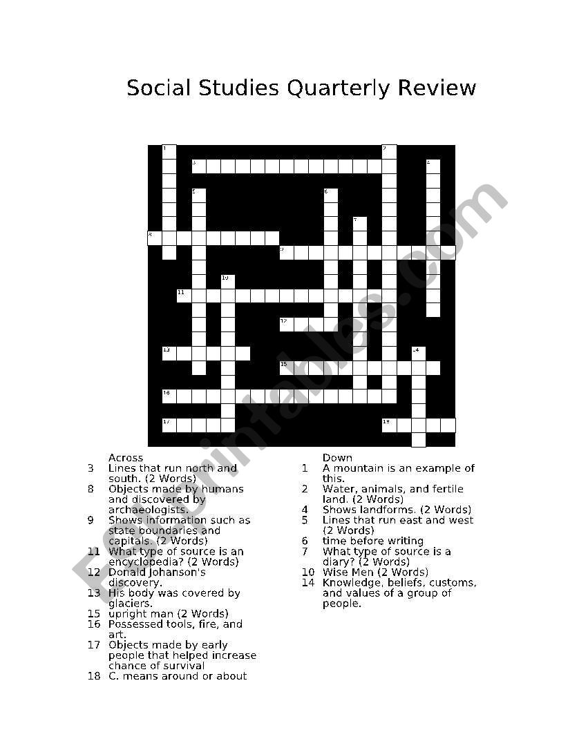 English Worksheets Social Studies Crossword Puzzle