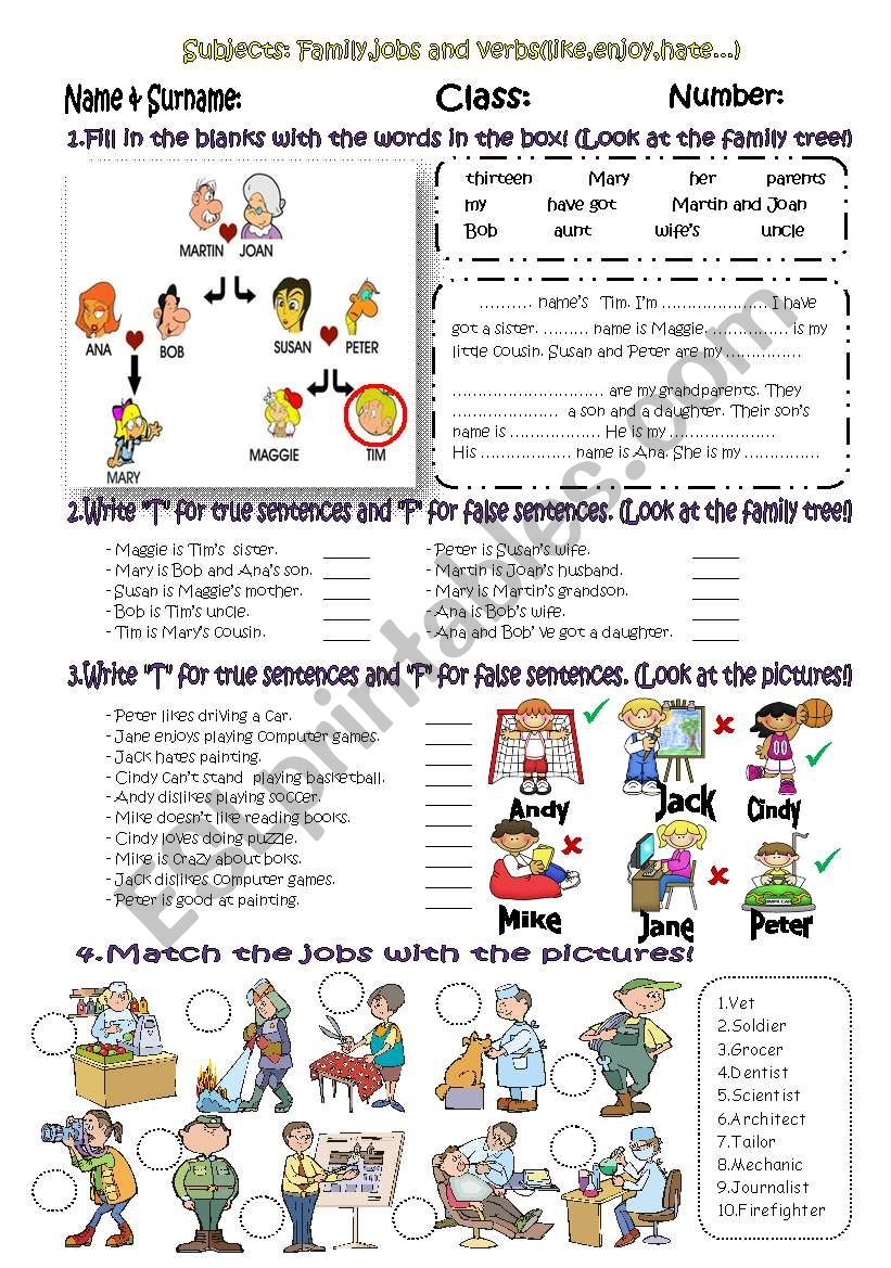 Exercises for 6th grades*family,jobs,T&F Activity*