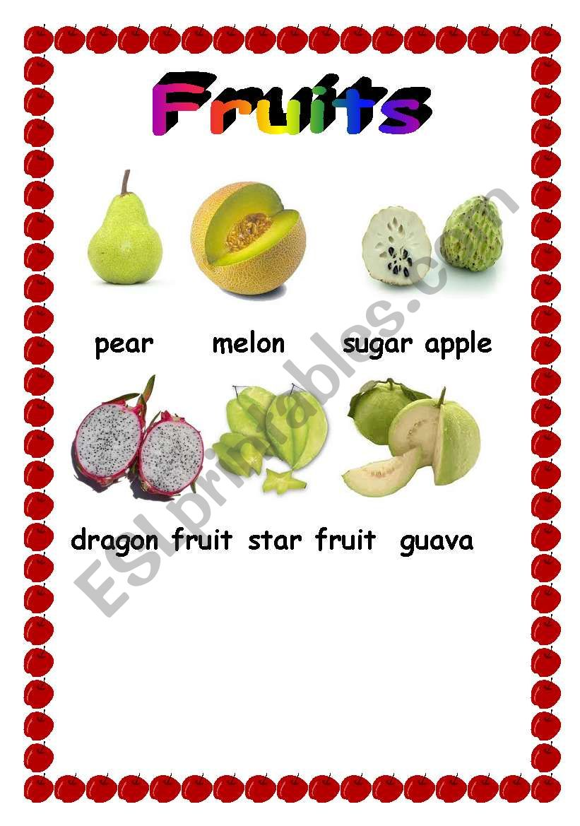 Fruit pictionary  worksheet
