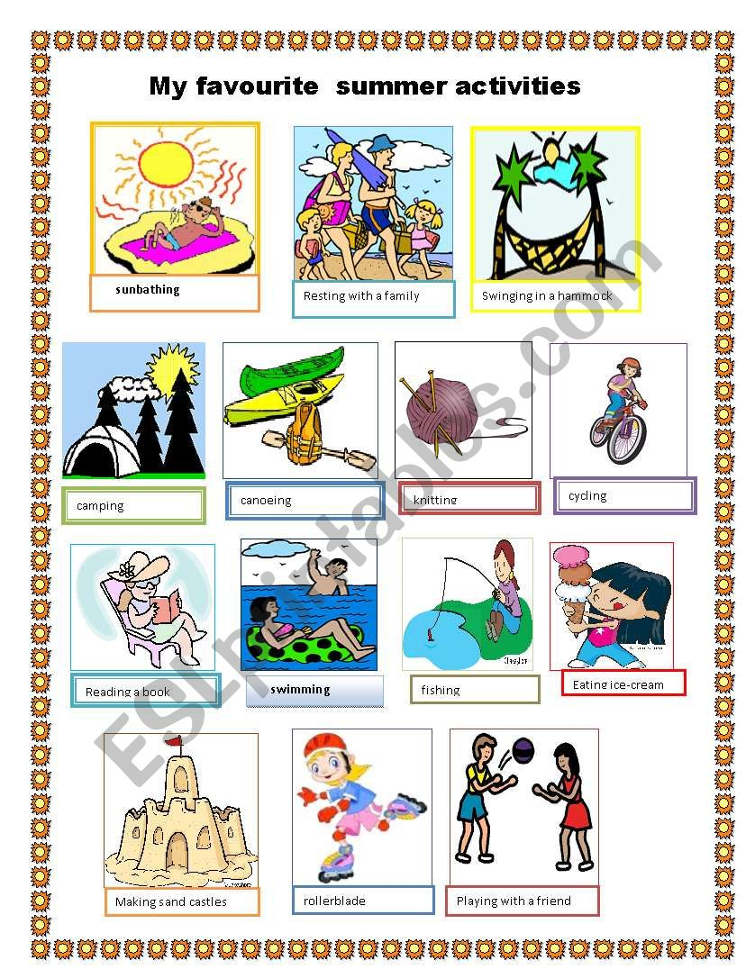 My Favourite Summer Activities Esl Worksheet By Irma Inas
