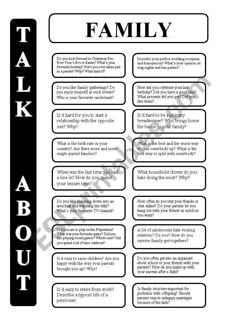 Family - 18 conversation cards - upper-intermediate level (editable)