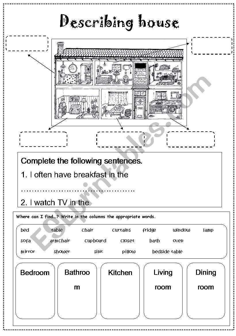 Describing house worksheet