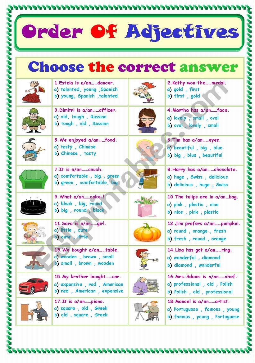 Order Of Adjectives... worksheet