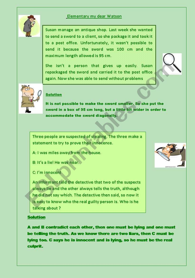 A detedtive story worksheet