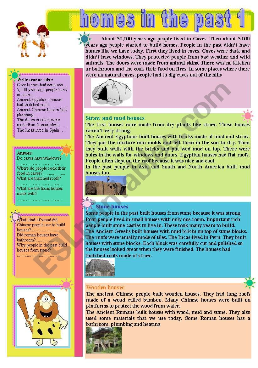 Homes in the past worksheet