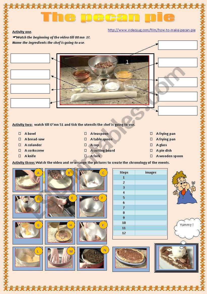 The Pecan Pie Recipe worksheet