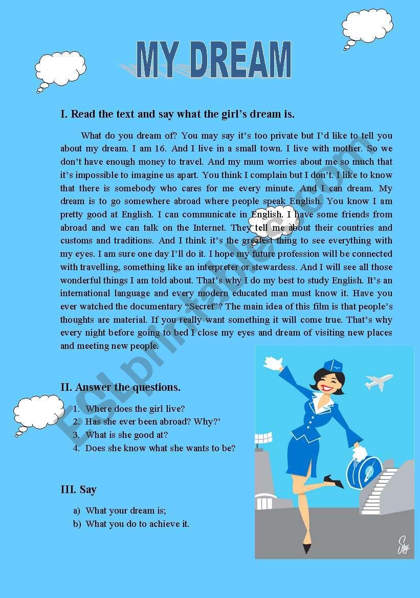 My Dream Esl Worksheet By Spankevich