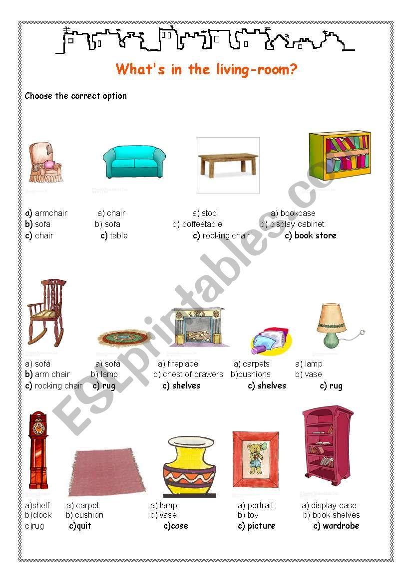 Furniture  worksheet