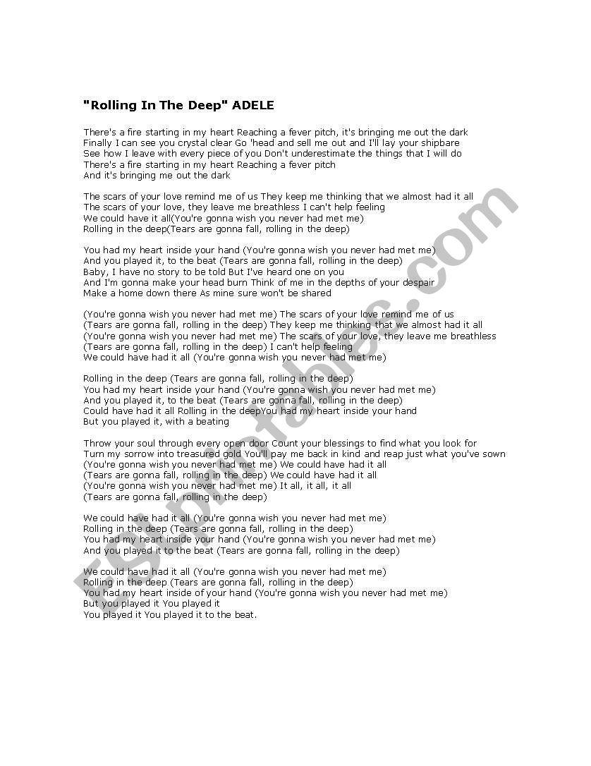 Adele Rolling In The Deep Song Worksheet - ESL worksheet by