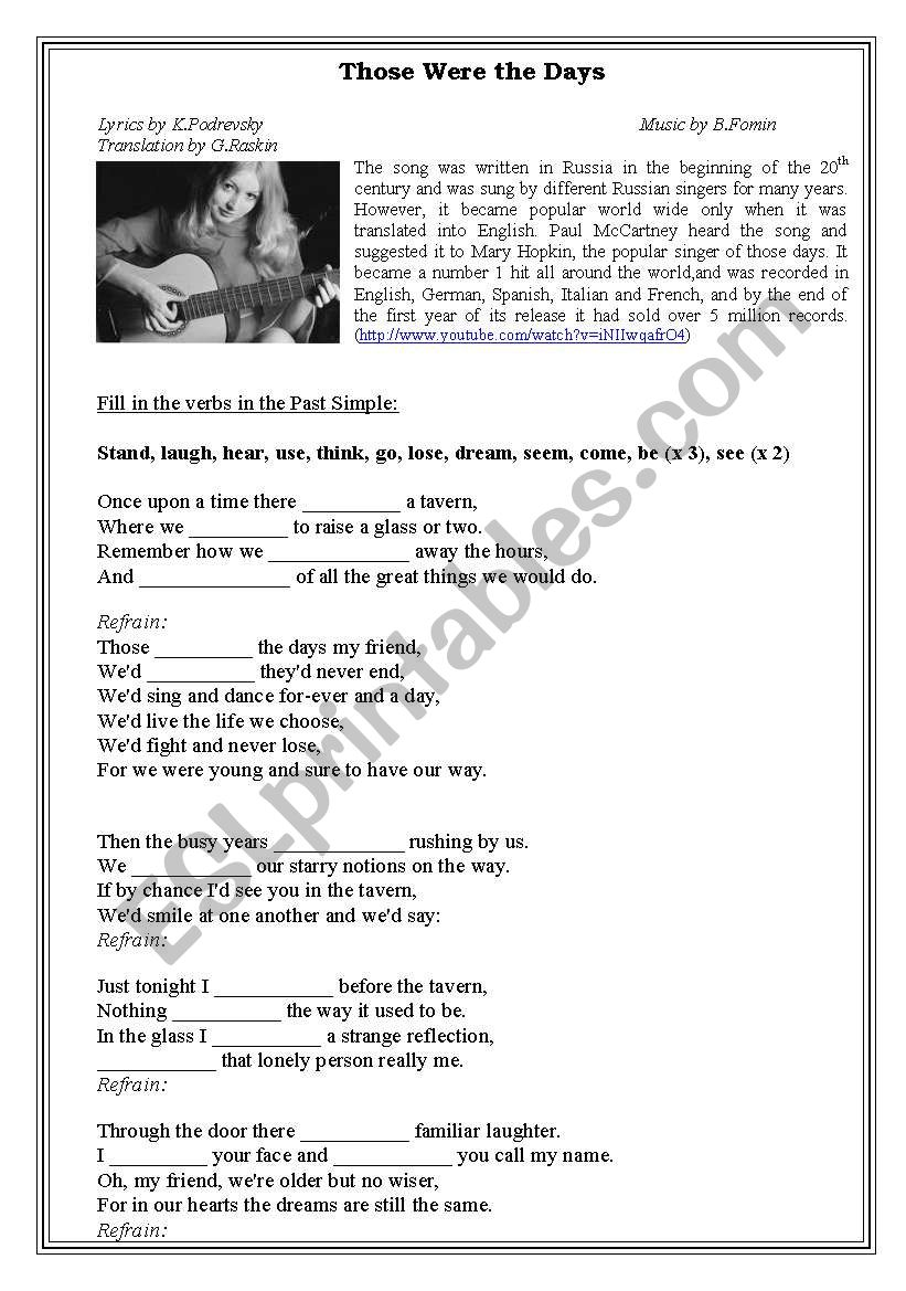Past Simple through the Song worksheet
