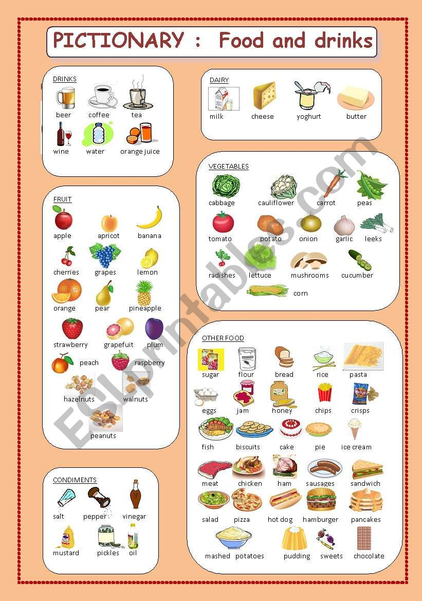 Pictionary : food and drinks worksheet