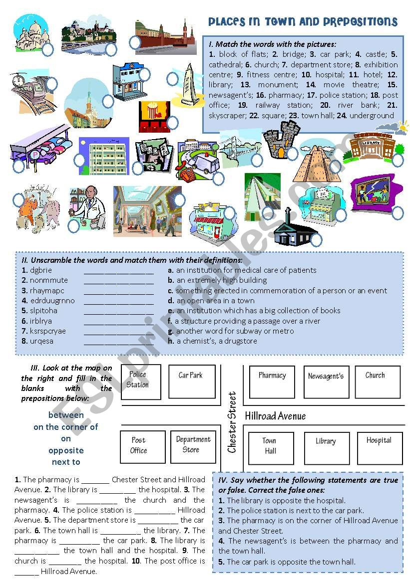 PLACES IN TOWN AND PREPOSITIONS
