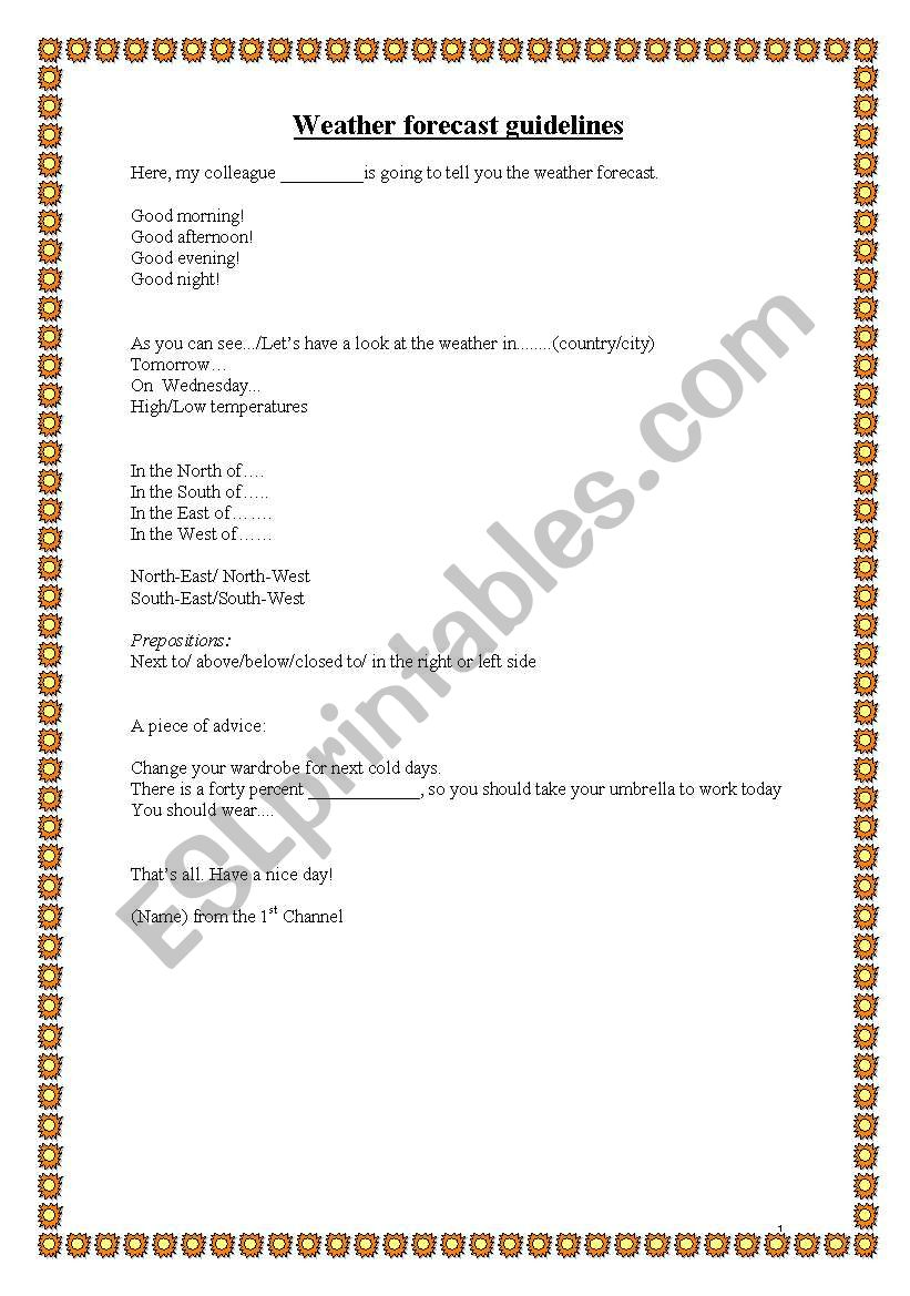 English worksheets: Weather forecast guidelines