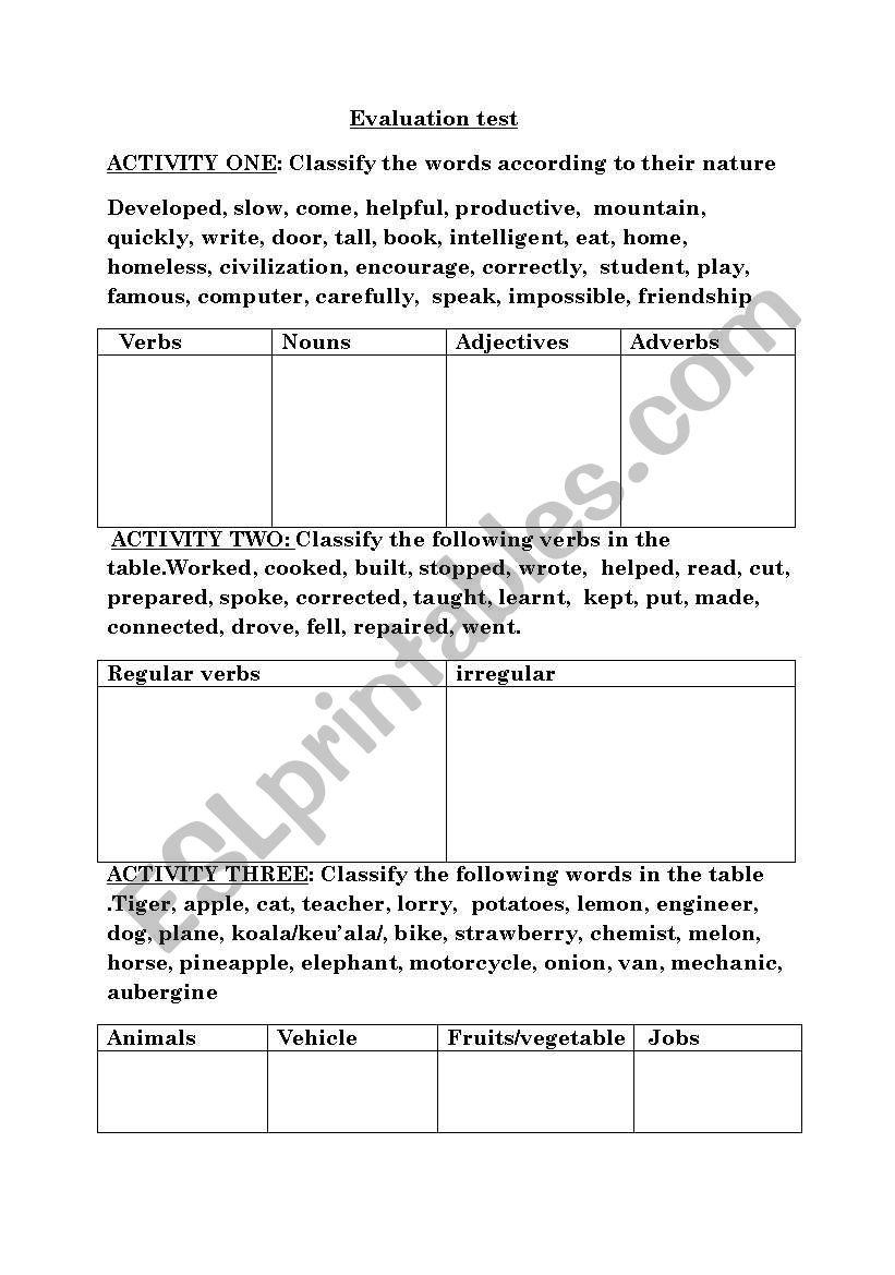 evaluation test worksheet