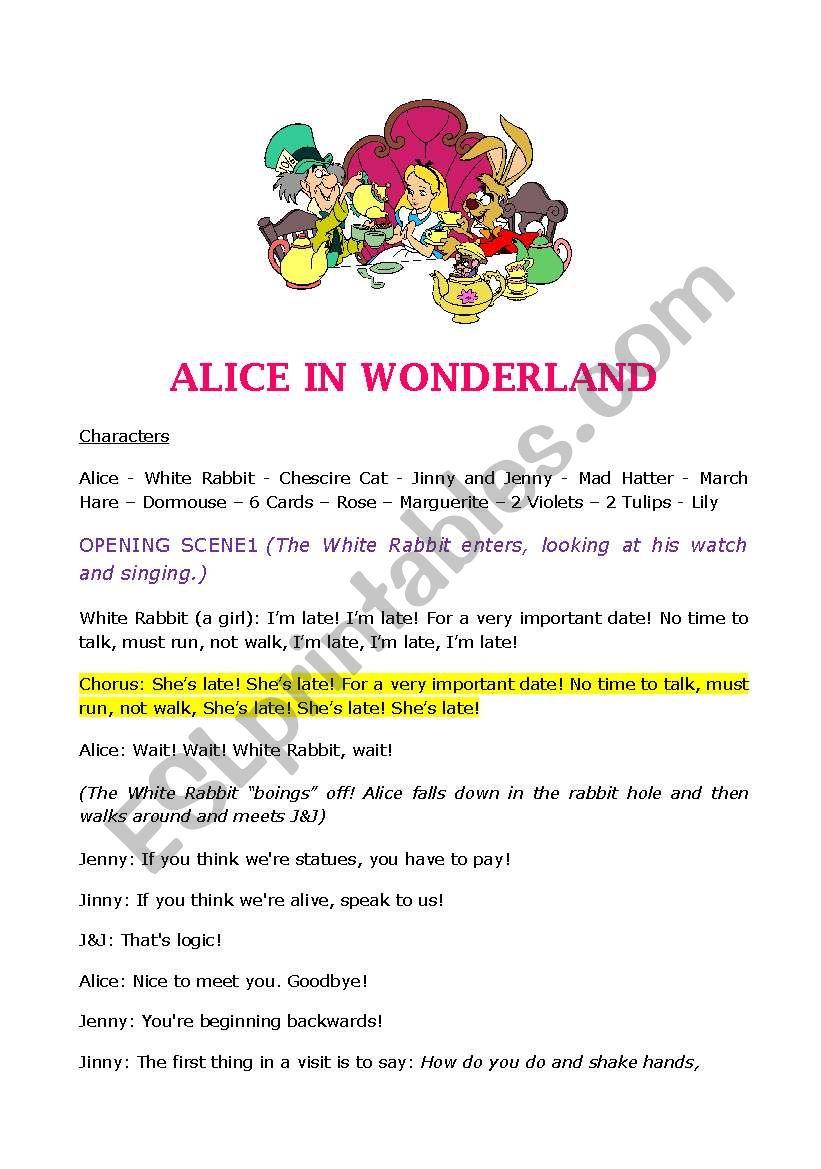 Alice In Wonderland Script For A Play Esl Worksheet By Dakota76