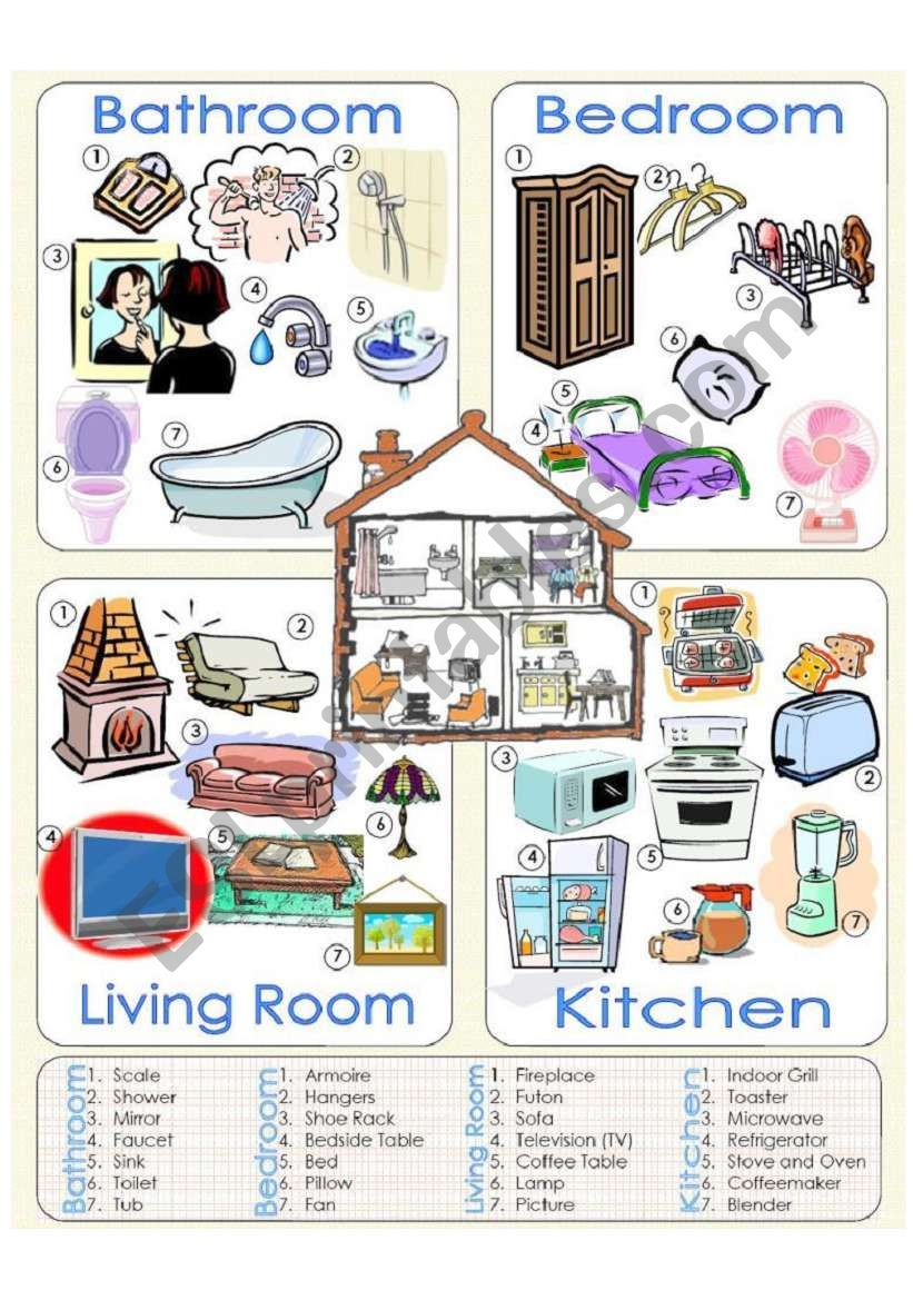 Things we can find at home worksheet