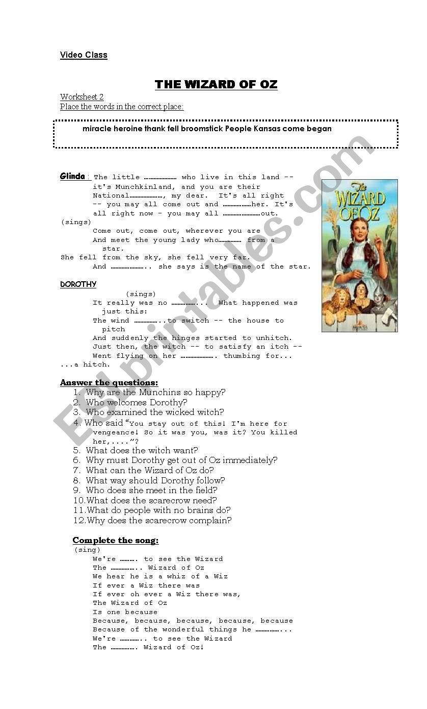 The Wizard of Oz- Worksheet 2 worksheet