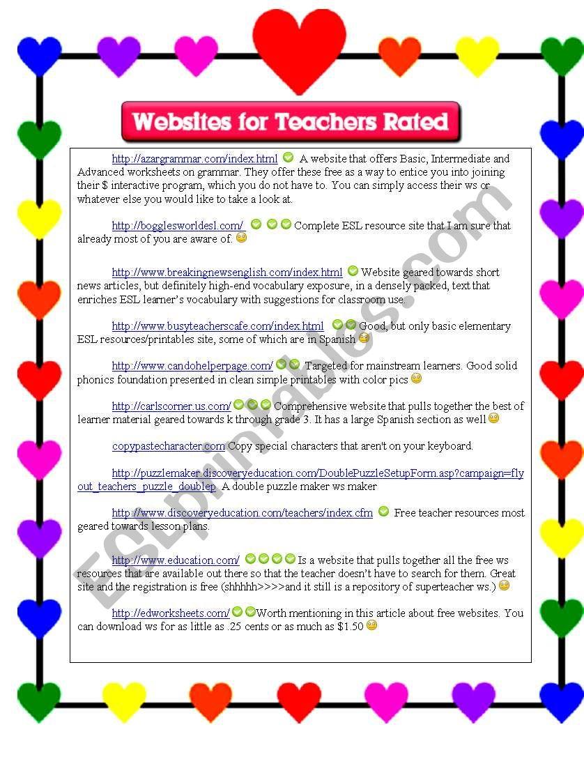 ESL and Other Websites for Teachers; Described - ESL ...