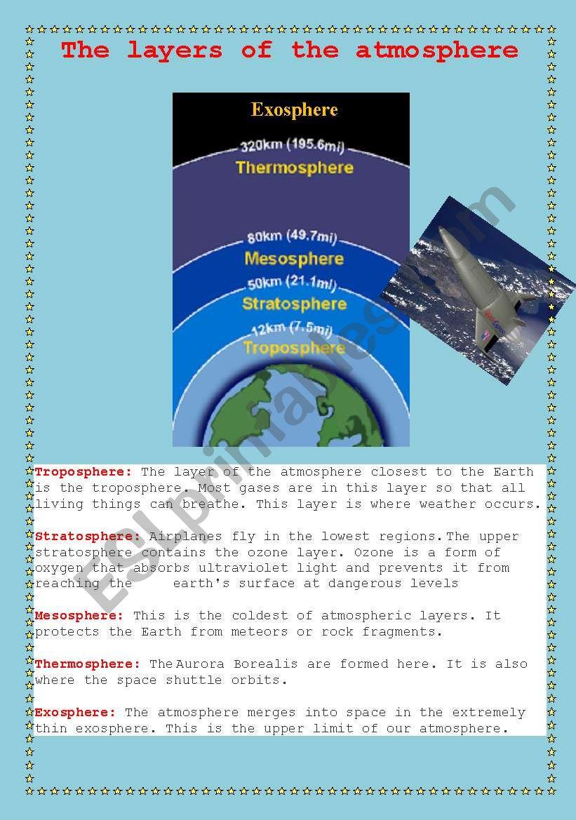 worksheet Atmosphere Layers Worksheet english worksheets atmosphere layers worksheet