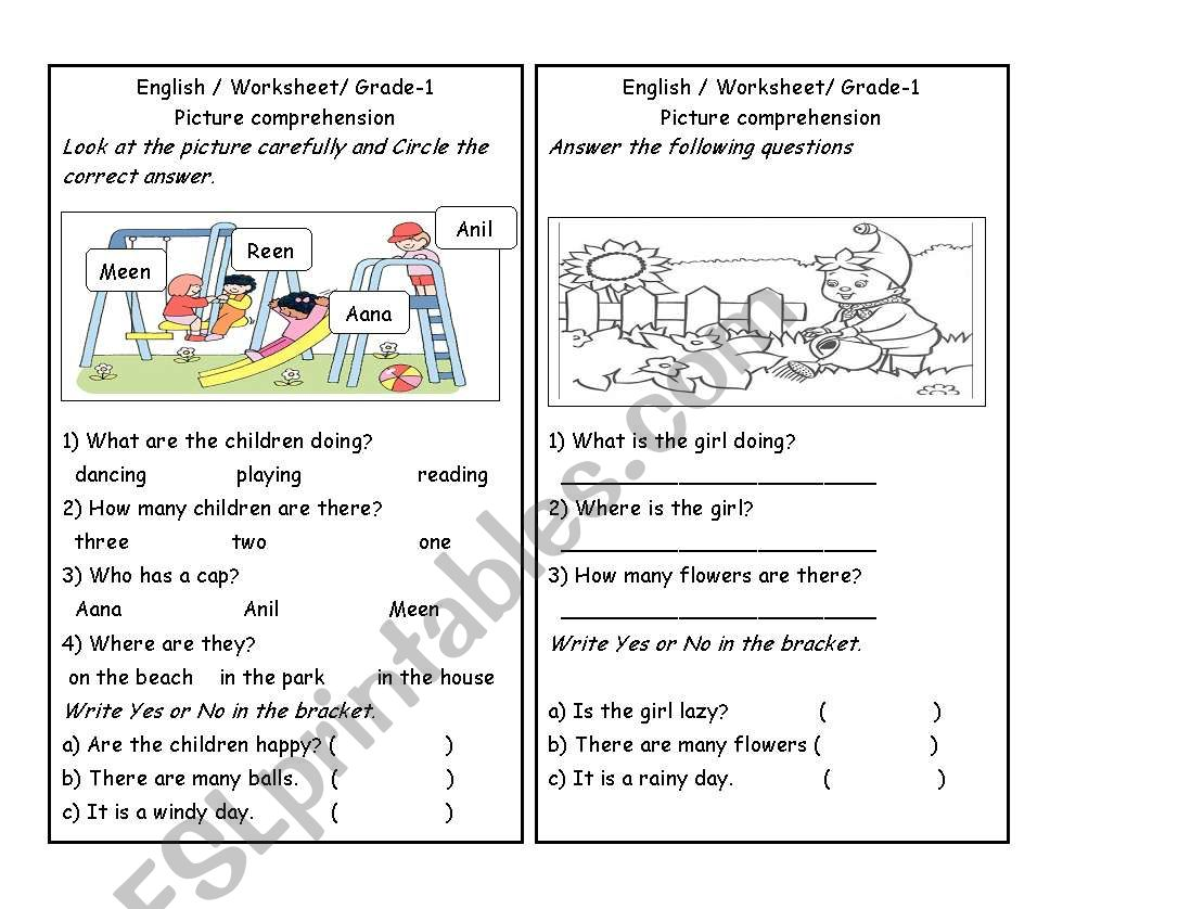 - Picture Comprehension Part 3 - ESL Worksheet By Zuhu