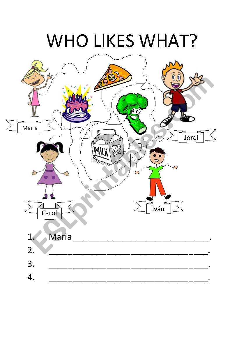 Who likes what? worksheet