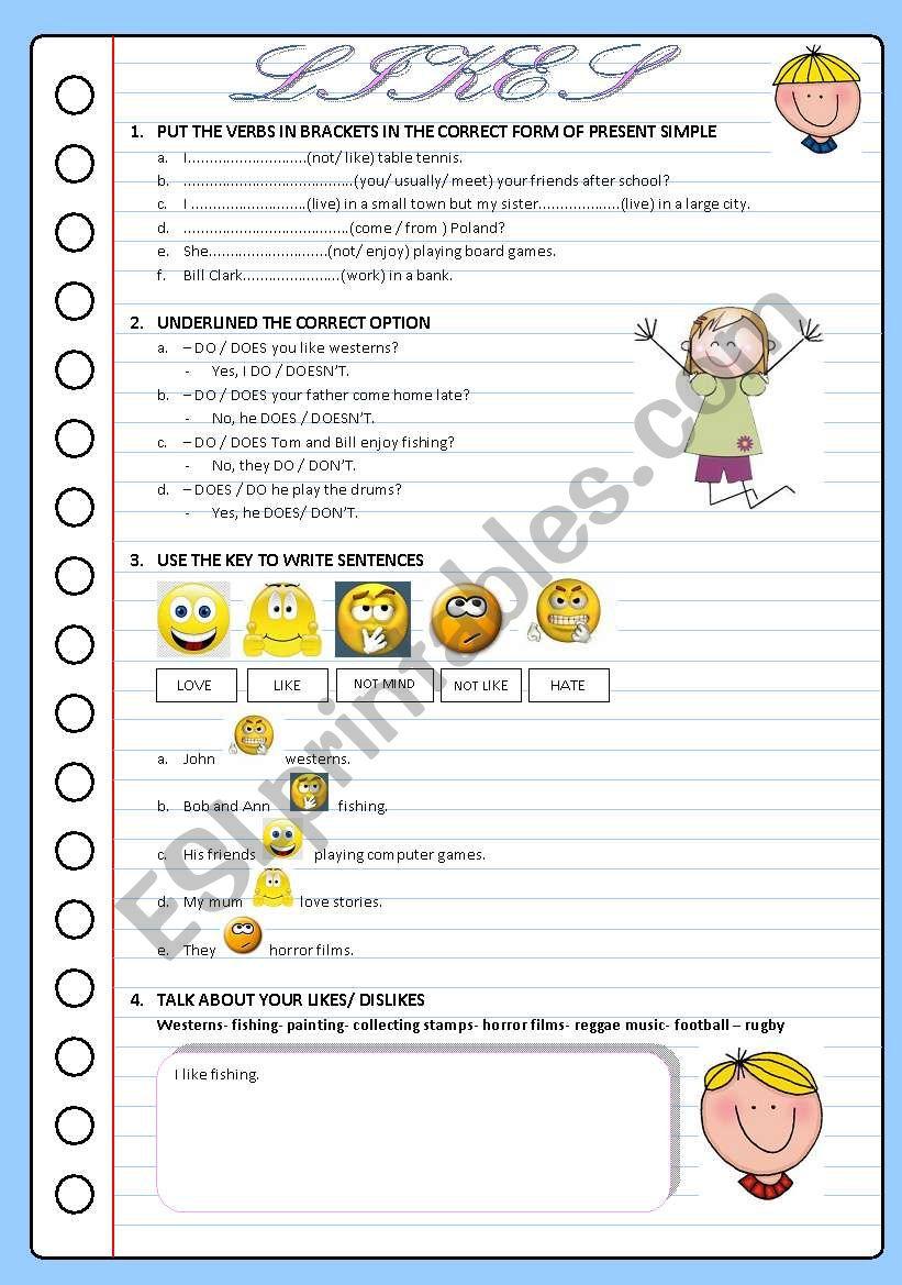 LIKES worksheet