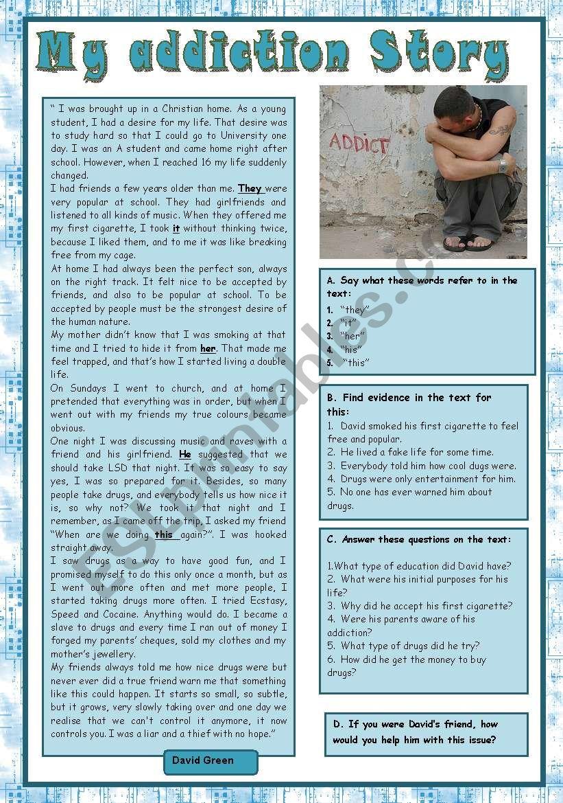 My addiction story worksheet